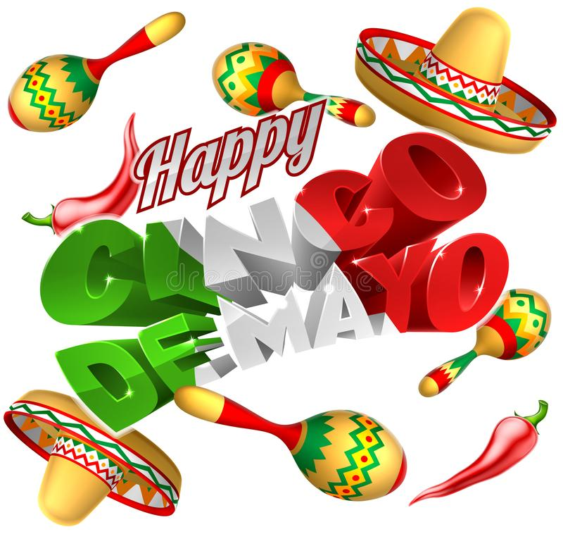 Cinco De Mayo Mexican Holiday Themed-Achtergrond vector illustratie