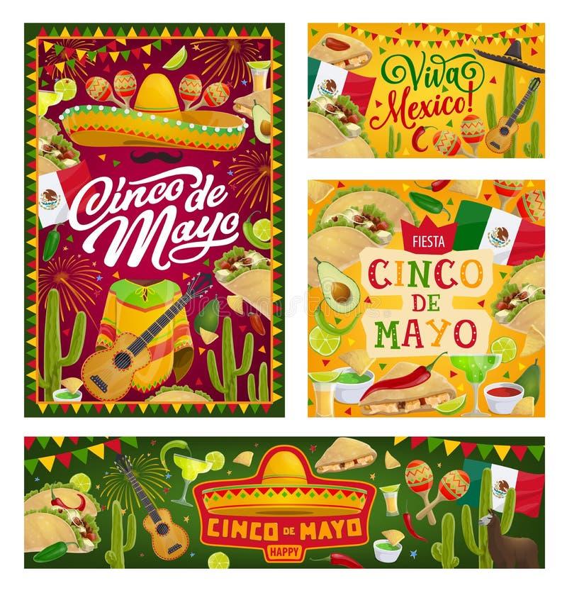 Cinco de Mayo party sombrero, guitar and tequila. Cinco de Mayo Mexican holiday vector banners. Fiesta party sombrero, cactus and tequila margarita, Mexico flag stock illustration