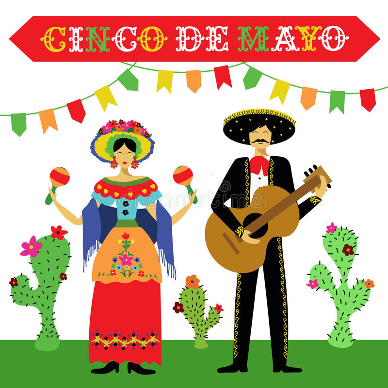 Cinco de Mayo Mexican holiday vector illustration royalty free illustration