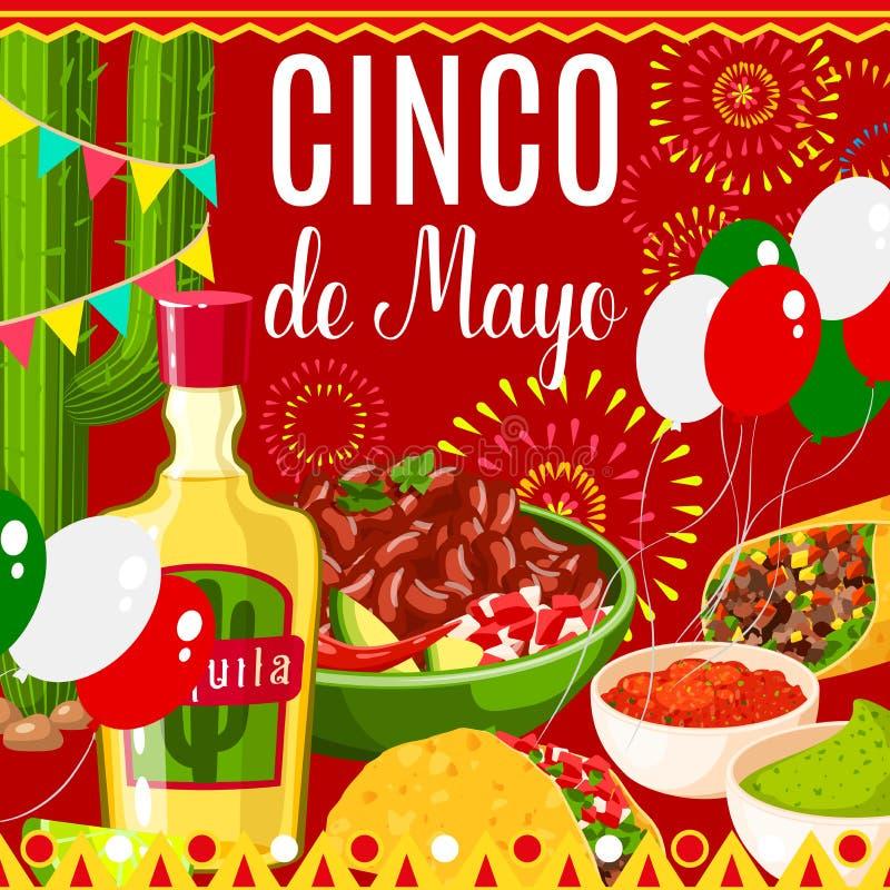 Cinco de Mayo Mexican-kaart van de fiesta de vectorgroet royalty-vrije illustratie