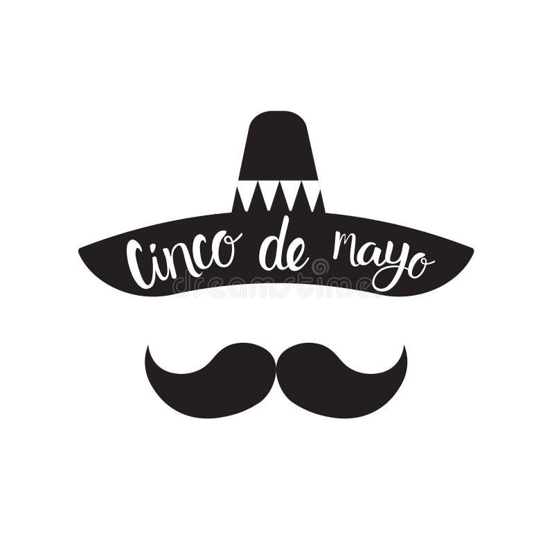 Cinco De Mayo Mexican Man Silhouette con il sombrero ed i baffi sulla carta tradizionale di festa del Messico del fondo nero illustrazione vettoriale
