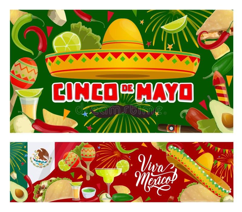 Cinco de Mayo Mexican maracas, sombrero, moustache. Sombrero, maracas and moustaches vector design of Cinco de Mayo Mexican holiday greeting cards. Fiesta party royalty free illustration