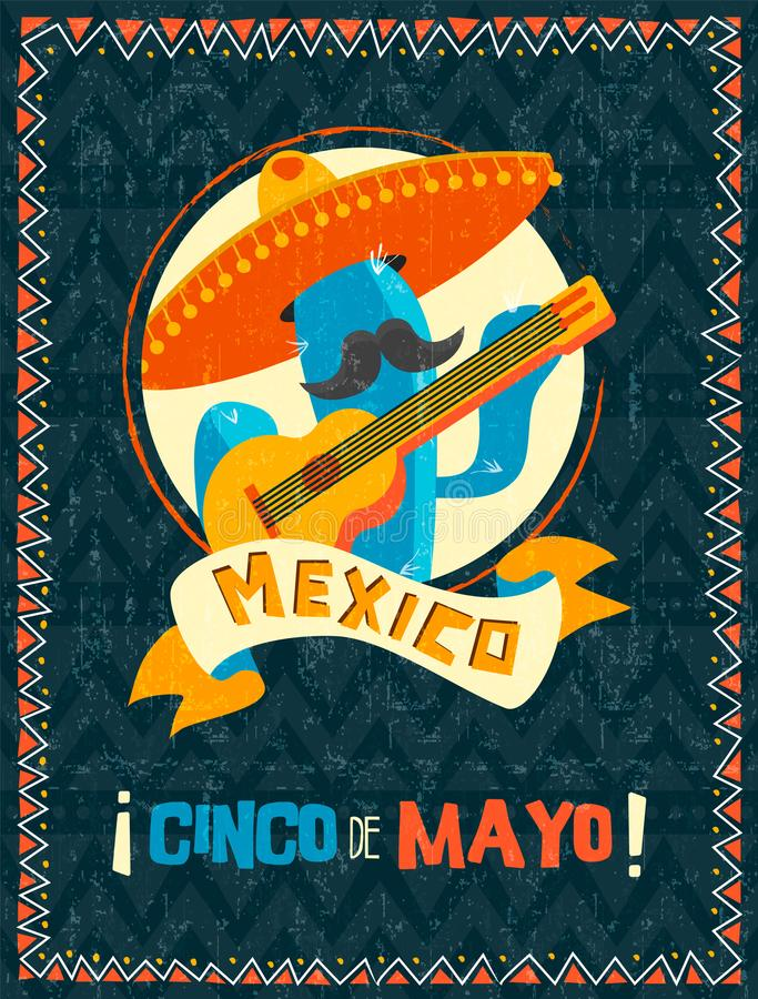 Cinco de mayo mexican mariachi cactus poster. Happy Cinco de Mayo party poster. Traditional mexican celebration illustration of funny mariachi cactus with stock illustration