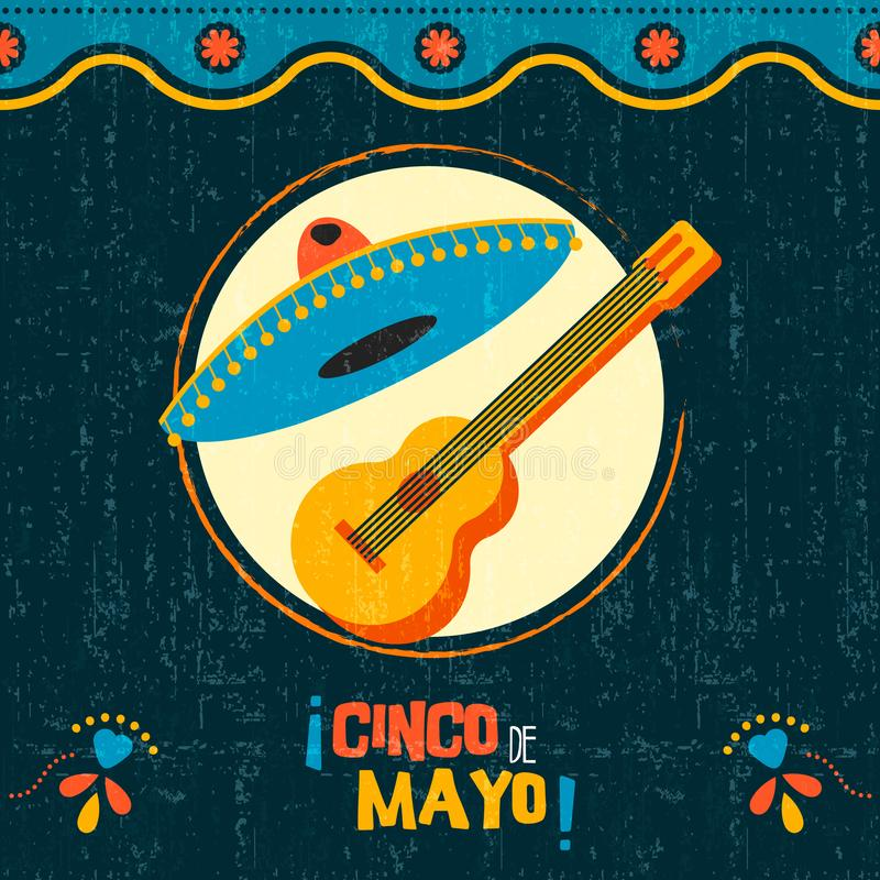 Cinco de mayo mexican mariachi party poster art. Happy Cinco de Mayo party poster. Traditional mexican celebration illustration of mariachi guitar and hat on royalty free illustration