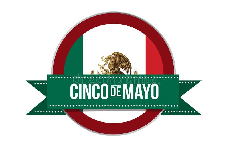 Cinco de Mayo Mexican puebla celebration seal illustration stock illustration