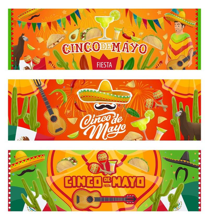 Cinco de Mayo Mexican sombrero, guitar, cactus. Cinco de Mayo fiesta party vector invitations with Mexican holiday sombrero, moustaches and guitar. Mariachi stock illustration