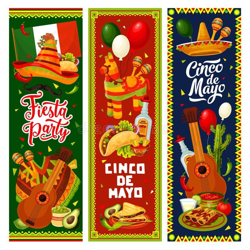 Cinco de Mayo Mexican sombrero, guitar, pinata. Cinco de Mayo fiesta party vector invitation banners of Mexican holiday design. Sombrero, guitar and maracas vector illustration