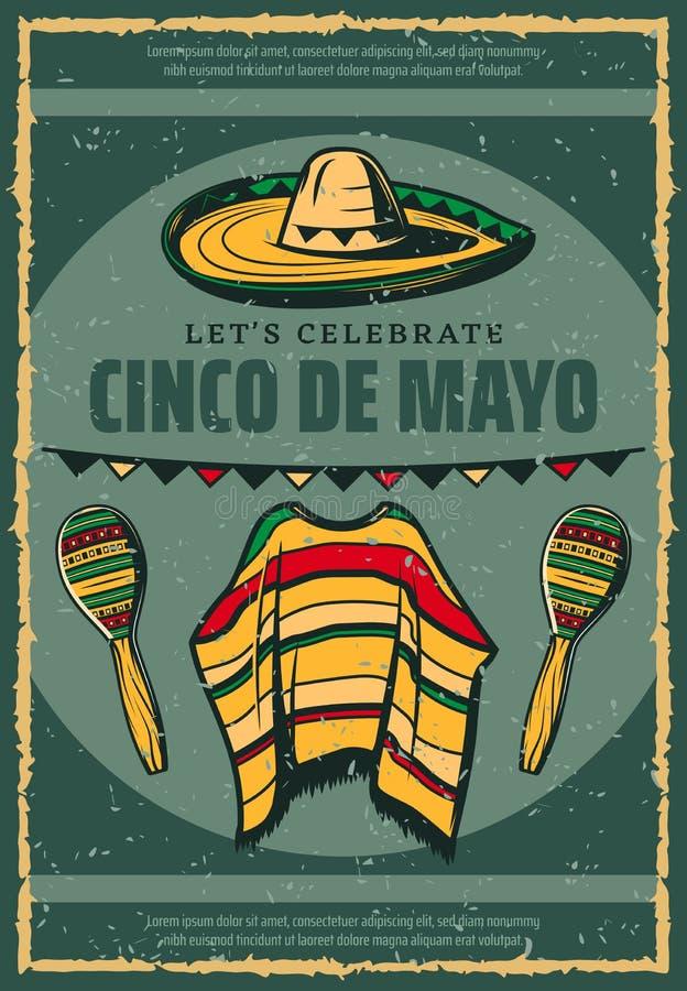 Free Cinco De Mayo Mexican Sombrero Retro Sketch Poster Stock Photography - 112157352