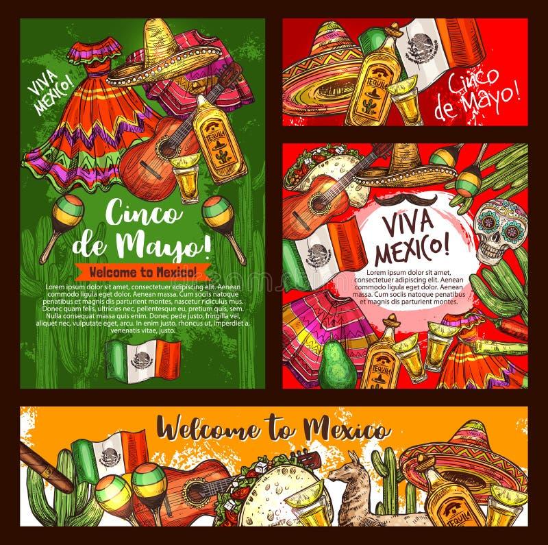 Cinco de Mayo mexican sombrero, teaquila, guitar. Mexican Cinco de Mayo fiesta party sombrero, tequila margarita and guitar, chili, cactus and Mexico flag, taco stock illustration