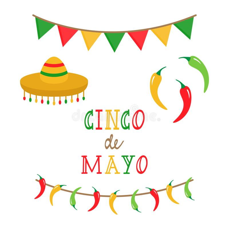 Cinco de Mayo, mexican vector set. Cinco de Mayo, mexican vector illustration set. Festival colorful bunting and party garland with chilli peppers, Cinco de Mayo stock illustration