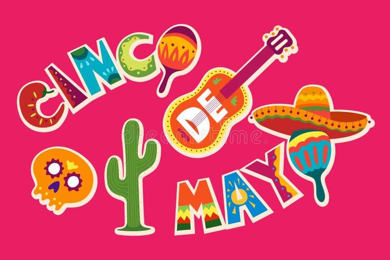 Cinco de Mayo in Mexico 5 mei, de vakantie van Latijns Amerika Kleurrijk, stock illustratie