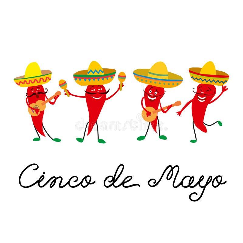 Cinco de Mayo mexikanskt hälsningkort med och gladlynt jalapeno för röda peppar i sombreron, gitarr och med maracas royaltyfri illustrationer
