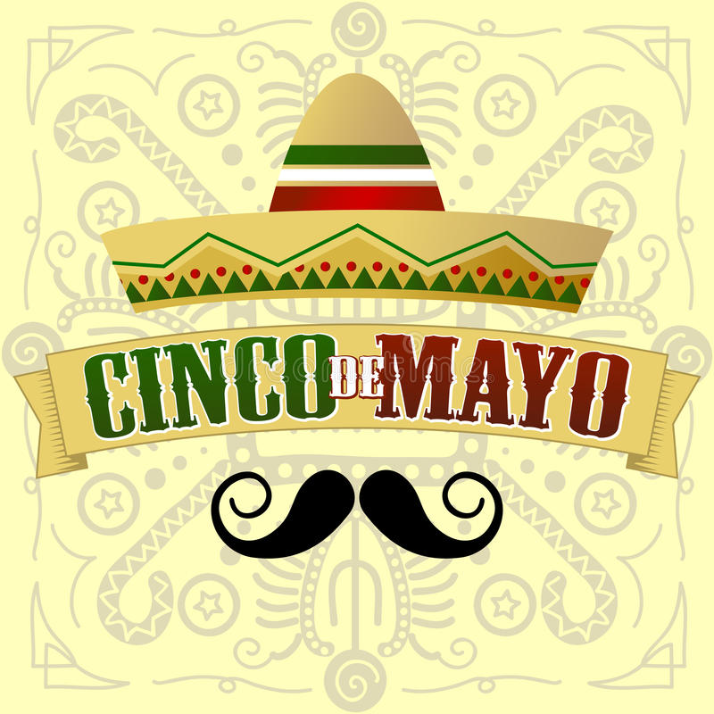 Cinco de Mayo Moustache illustration stock