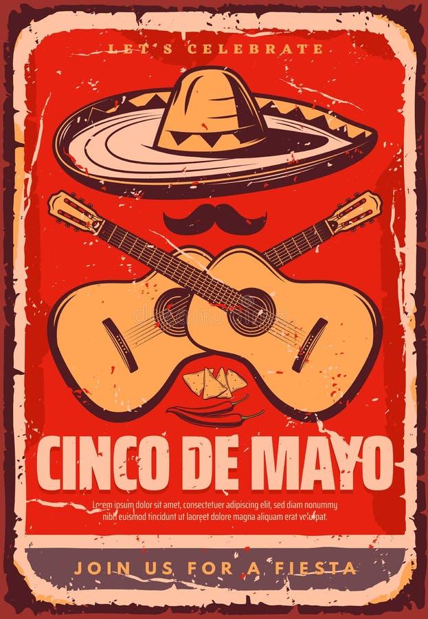 Cinco de Mayo nakreślenia przyjęcia Meksykański wektorowy plakat ilustracja wektor
