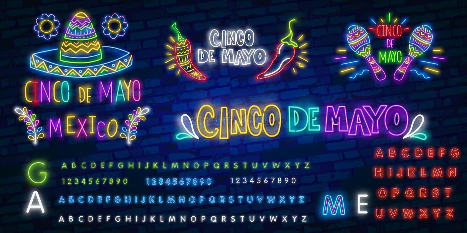 Cinco de mayo neon text with sombrero and moustache. Mexican culture and holiday design. Night bright neon sign, colorful. Billboard, light banner royalty free stock image