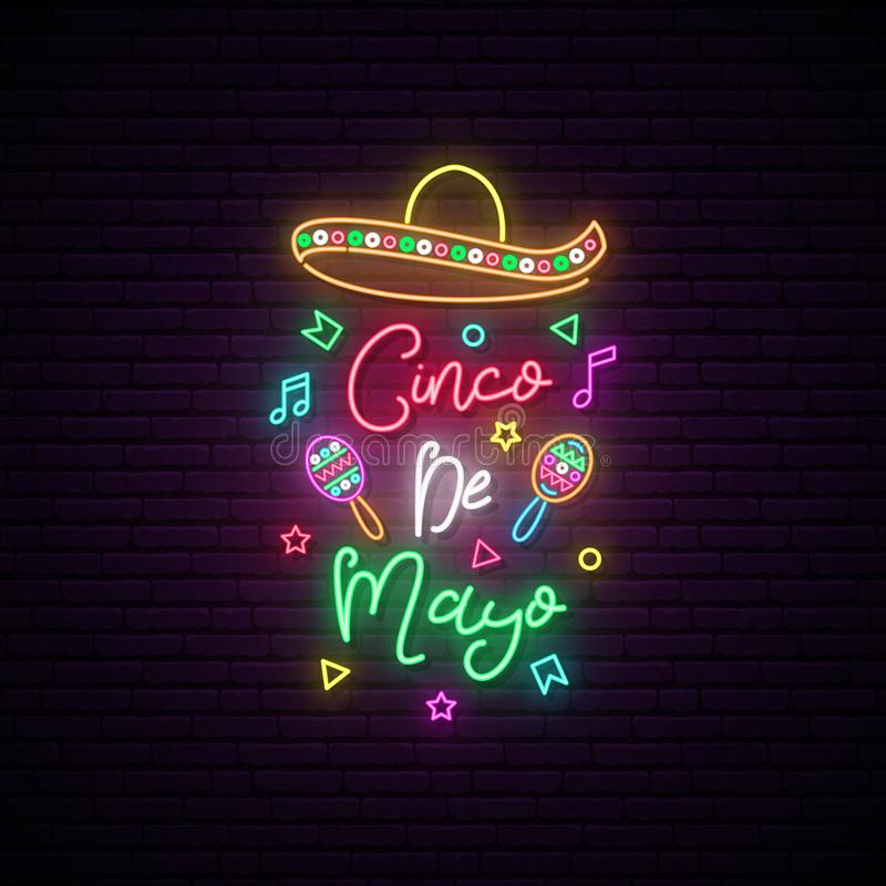 Cinco de Mayo-neonuithangbord stock illustratie