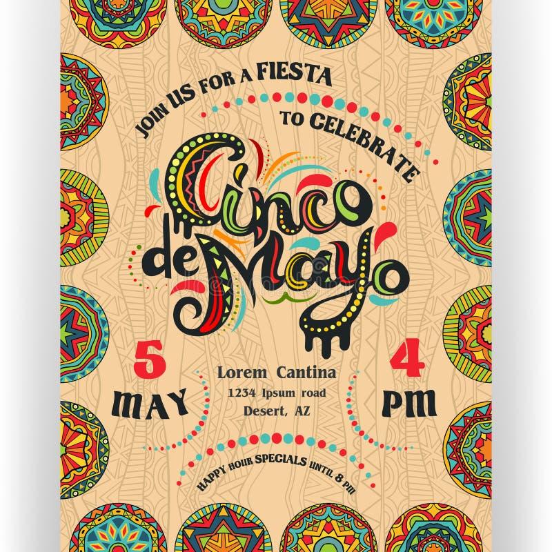 Cinco De Mayo ogłasza plakatowego szablon