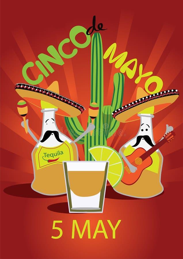 Cinco De Mayo-onderlegger voor glazenontwerp, affiche, vlieger, signage, partijuitnodiging vector illustratie