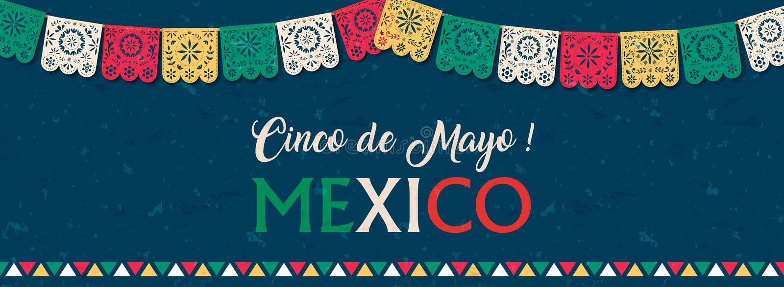 Cinco de Mayo paper flag banner for mexico holiday vector illustration