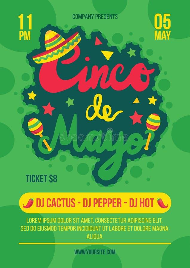 Cinco de mayo parti, mall för festivalaffischvektor royaltyfri illustrationer