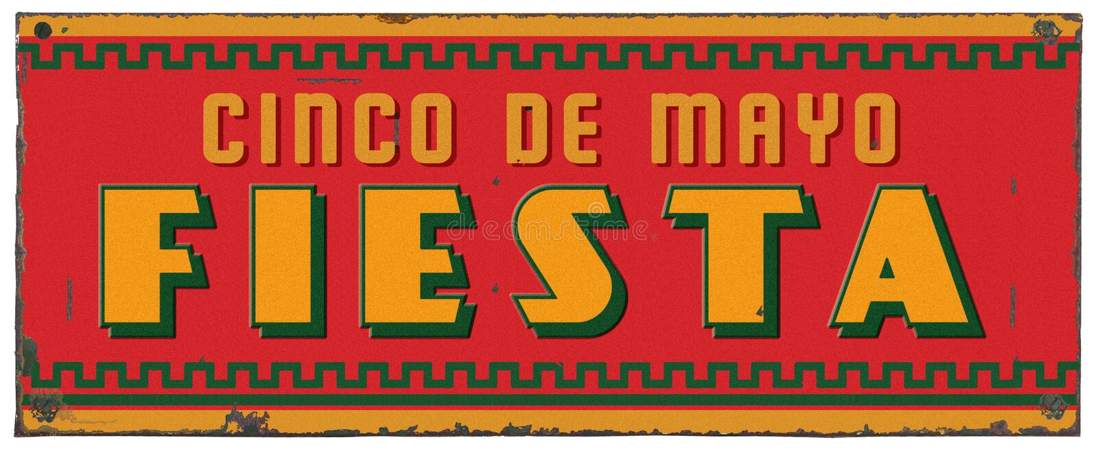 Cinco De Mayo Party Fiesta Art Grunge Metal Sign royalty free stock photography