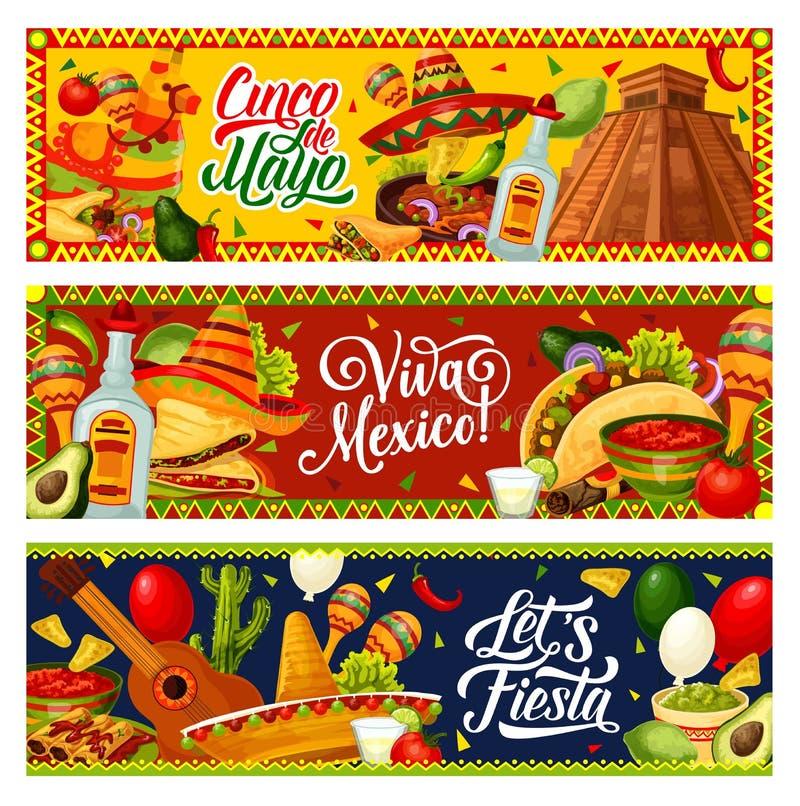 Cinco de Mayo party guitar, sombrero, Mexican food. Mexican holiday of Cinco de Mayo vector greeting banners. Fiesta party guitar, maracas and sombrero, cactus royalty free illustration