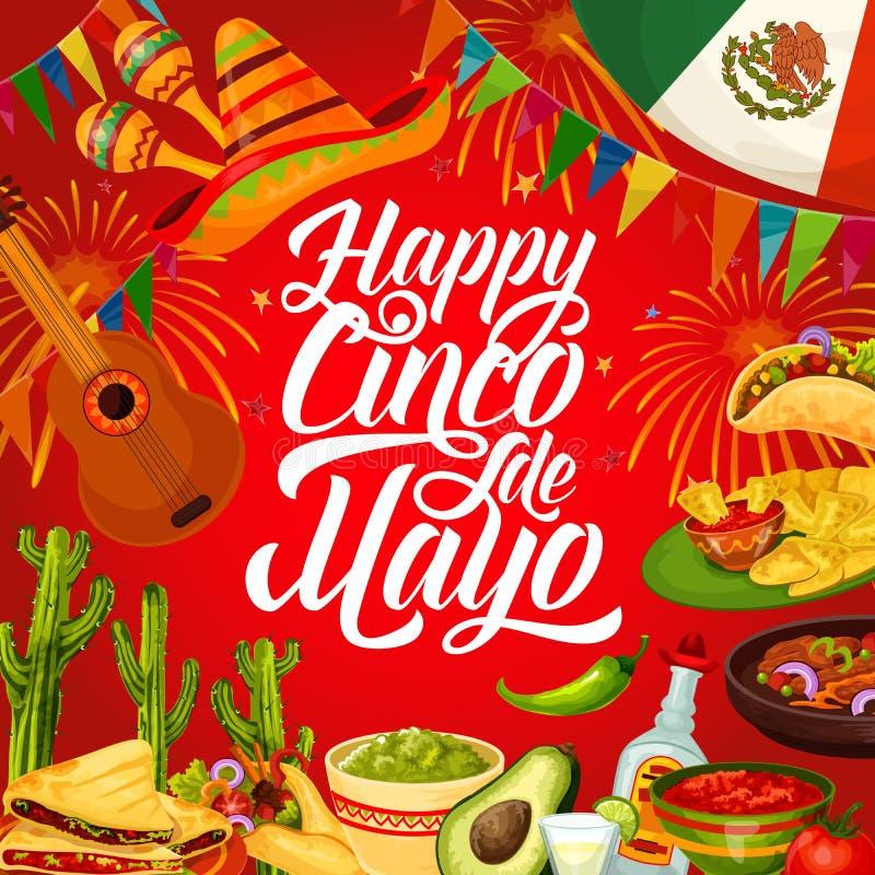 Cinco de Mayo party sombrero, Mexican guitar, food. Happy Cinco de Mayo vector greeting card of Mexican holiday design. Fiesta party sombrero, guitar and maracas royalty free illustration
