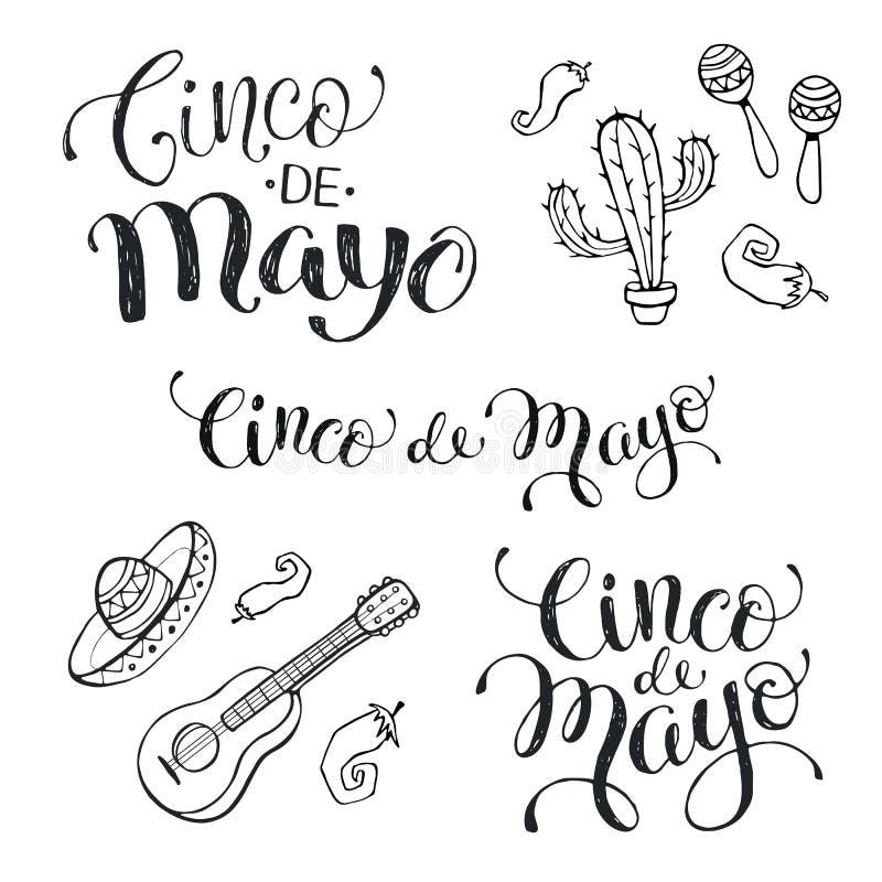 Cinco de mayo phrases stock illustration