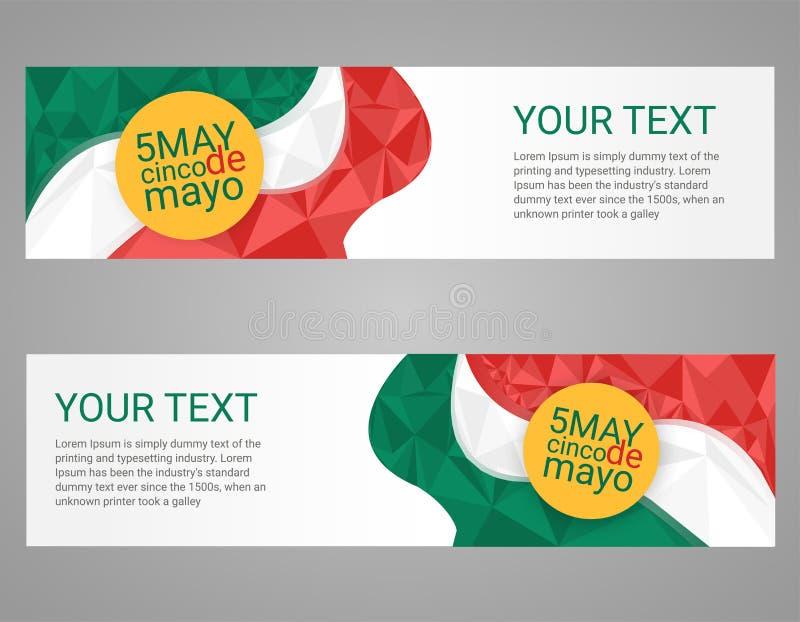 Cinco de Mayo plakat Kartka z pozdrowieniami meksykanina wakacje ilustracja wektor
