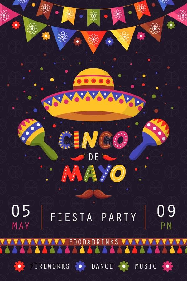 Cinco de Mayo plakat, tradycyjny meksykański świętowanie