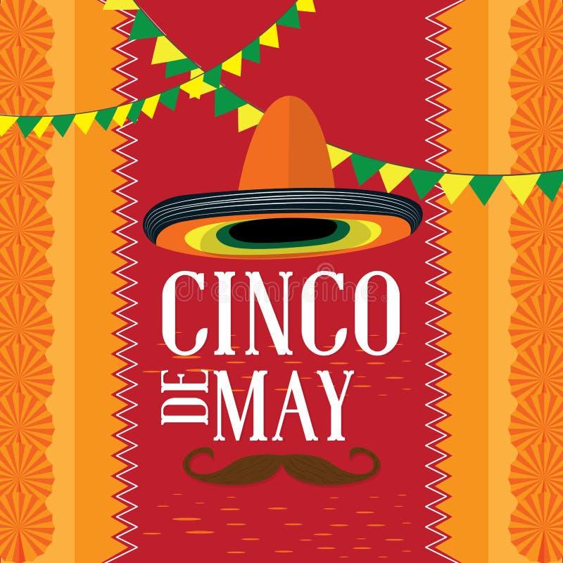 Cinco de Mayo plakat z wąsem i kapeluszem ilustracji