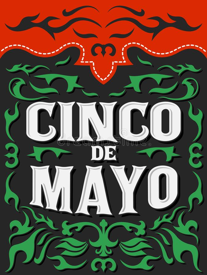 Cinco de Mayo plakata karty wektorowy szablon, tradycyjny Meksykański wakacje ilustracji