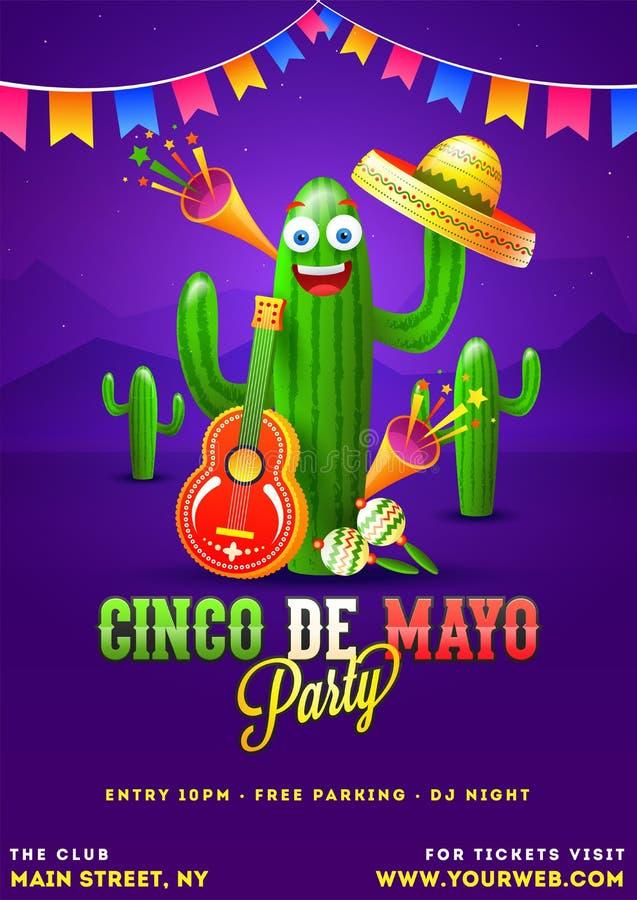 Cinco De Mayo plakata szablon tekst i szczegóły dostosowywający dla fiesta przyjęcia ilustracji