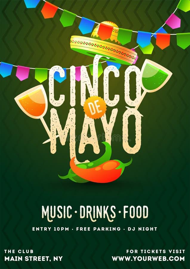 Cinco De Mayo plakata szablon tekst i szczegóły dostosowywający dla fiesta przyjęcia royalty ilustracja