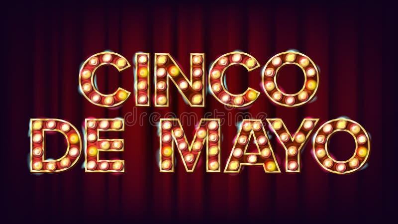 Cinco De Mayo plakata wektor Karnawałowe Rozjarzone lampy Dla nocy przyjęcia Plakatowego projekta ptaka rocznik śliczny ilustracy ilustracja wektor