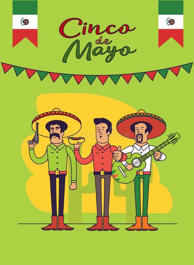 Cinco De Mayo plakatowy projekt Meksykanów charaktery ustawiający Wektorowy szablon z kopii przestrzenią dla twój wakacyjnego świ
