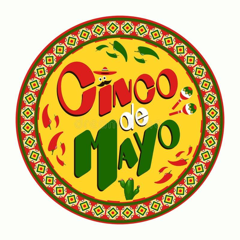 Cinco De Mayo plakatowy projekt Wprowadzać na rynek, reklamować lub zaproszenia szablonie z kopii przestrzenią dla twój wakacyjne ilustracji