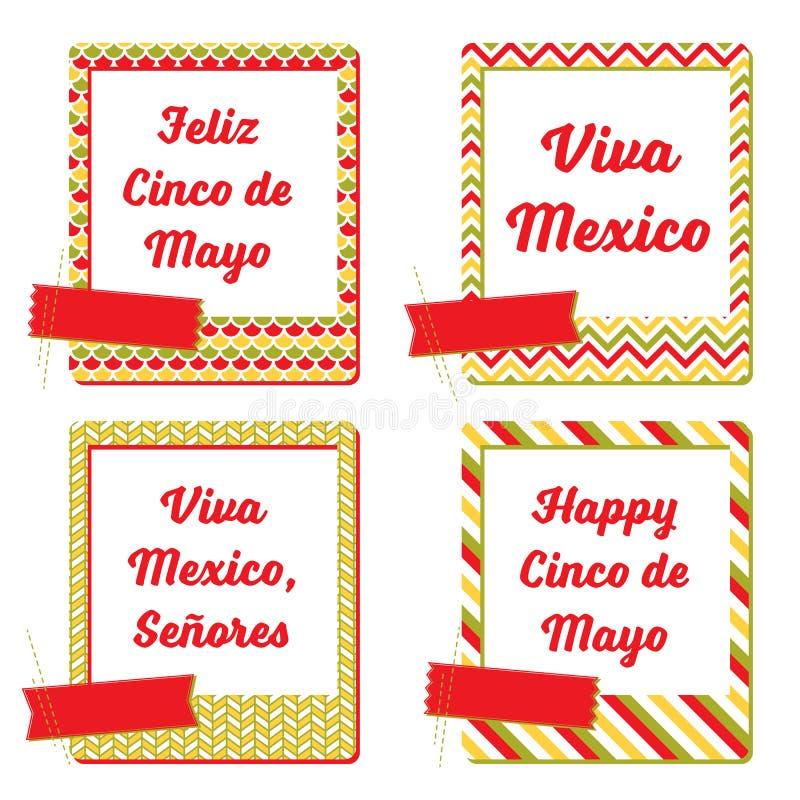 Cinco De Mayo pocztówek fotografii ramy Set karty i notatki z Meksykańskimi wakacje wzorzystości ramami ilustracja wektor