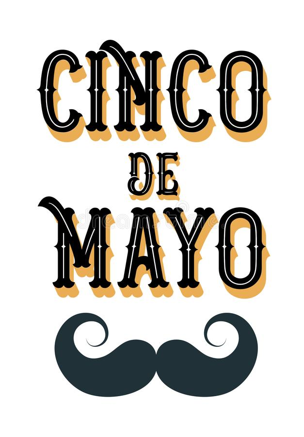 Cinco de Mayo poster design with moustache royalty free illustration