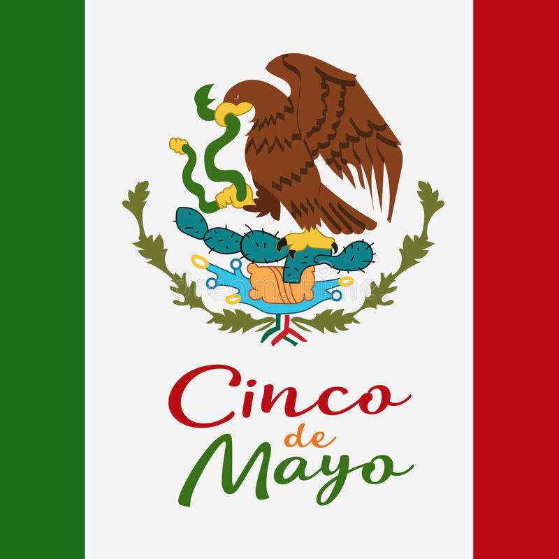 Cinco De Mayo Poster Design Symbol Of The Mexican Flag Eagle With