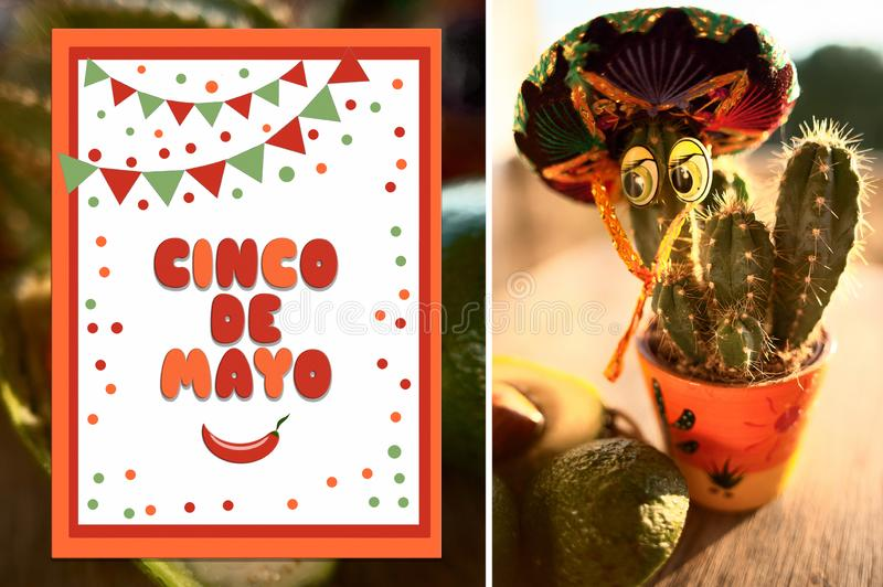 Cinco De Mayo  poster  illustration. Photo of a cactus in a sombrero and illustration with text. stock photo