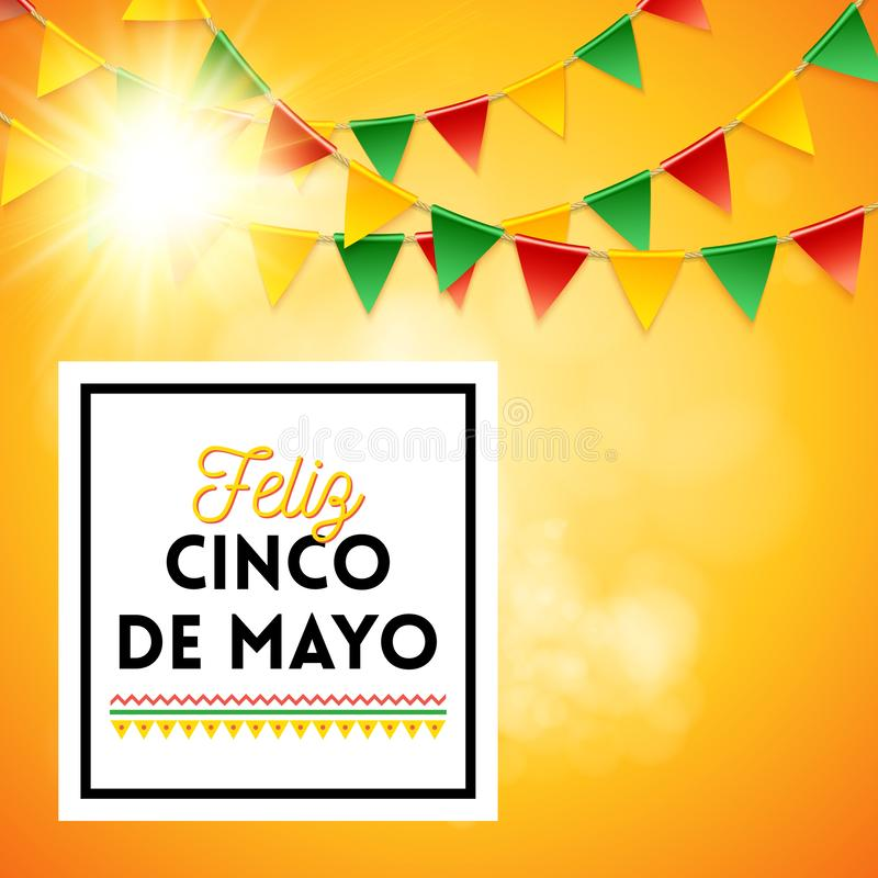 Cinco de Mayo Poster over gele achtergrond stock illustratie