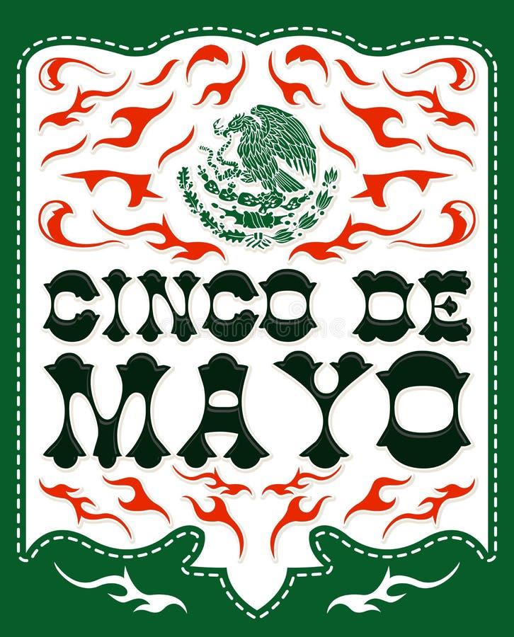 Cinco de Mayo, progettazione con l'emblema patriottico messicano illustrazione di stock