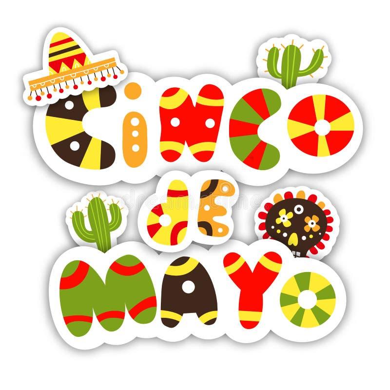 Cinco De Mayo Progettazione disegnata a mano dell'invito alla festività illustrazione vettoriale