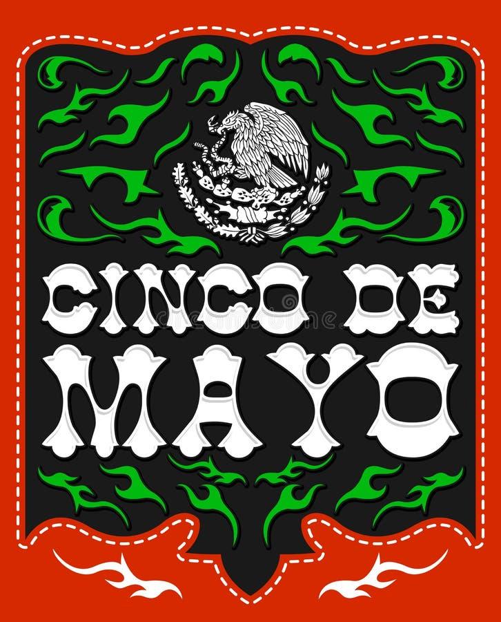 Cinco de Mayo, projekt z Meksykańskim Patriotycznym emblematem royalty ilustracja