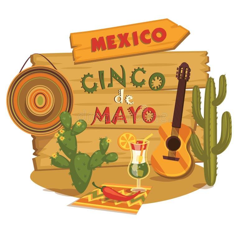 cinco de Mayo również zwrócić corel ilustracji wektora