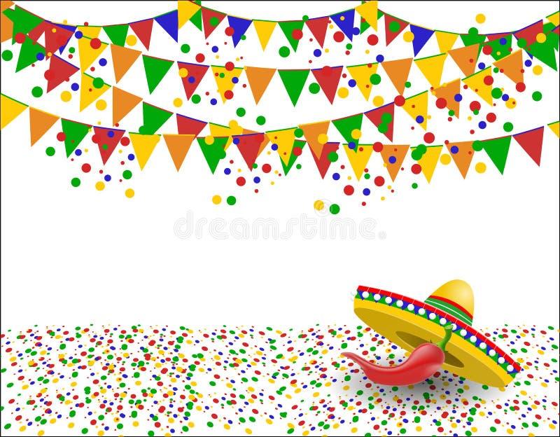 cinco de mayo Röd peppar i skuggan av en sombrero konfettiar illustration stock illustrationer