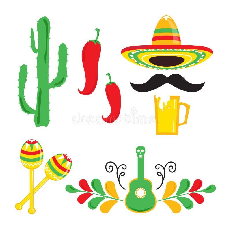 Cinco DE Mayo Reeks vakantieelementen vector illustratie