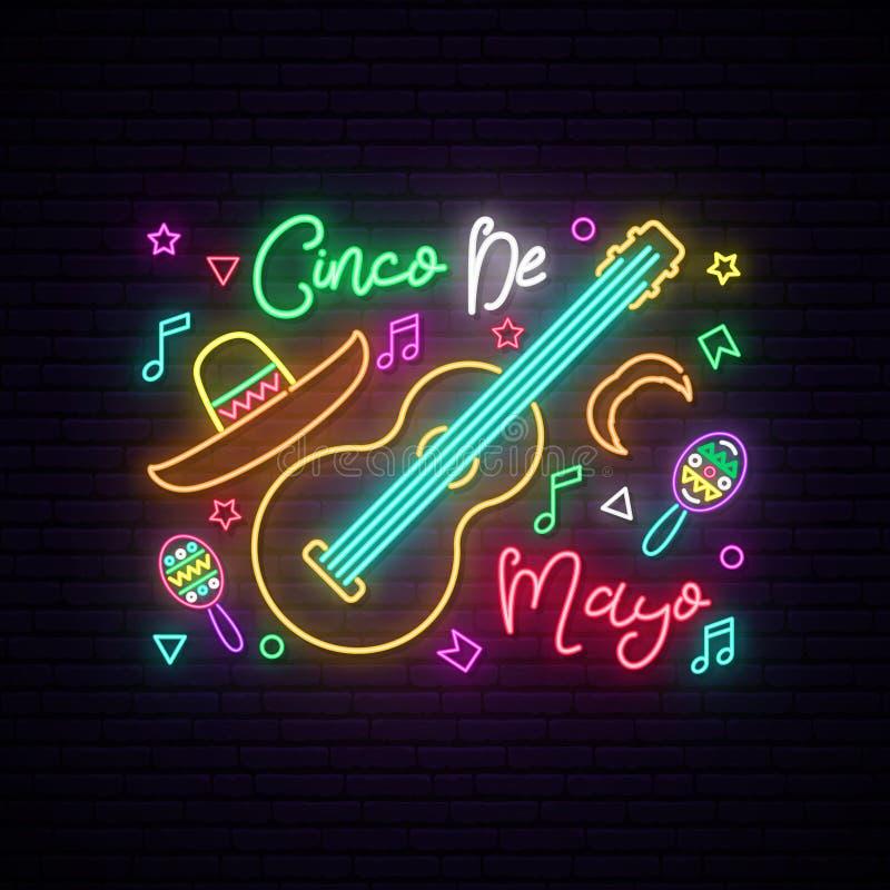 Cinco de Mayo rozjarzony neonowy znak ilustracji