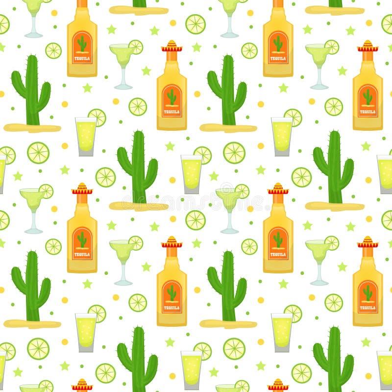 Cinco de Mayo sömlös modell med tequila och kaktuns Ändlös bakgrund för mexicansk ferie, textur också vektor för coreldrawillustr stock illustrationer